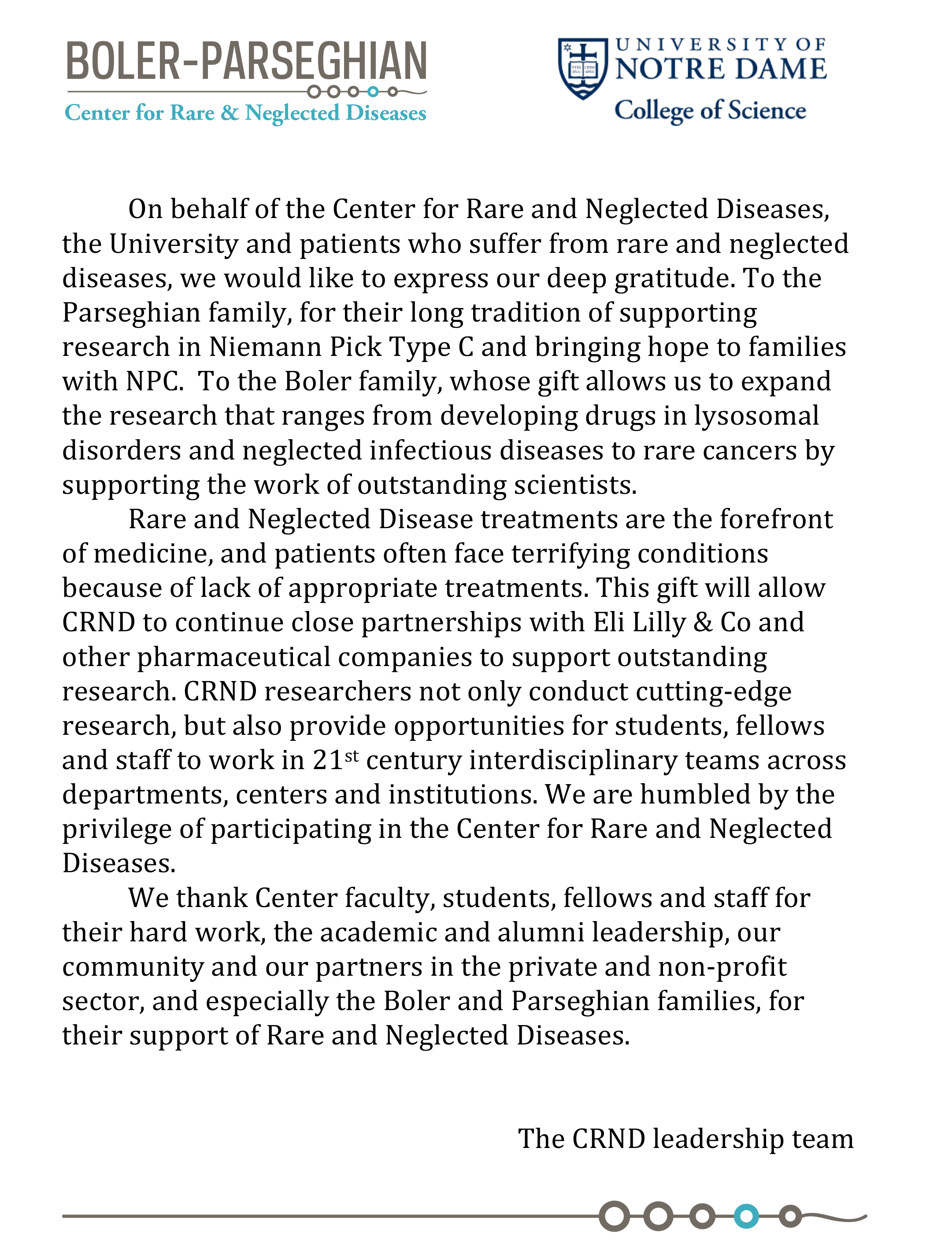 the center for rare and neglected diseases at the university of thank you letter