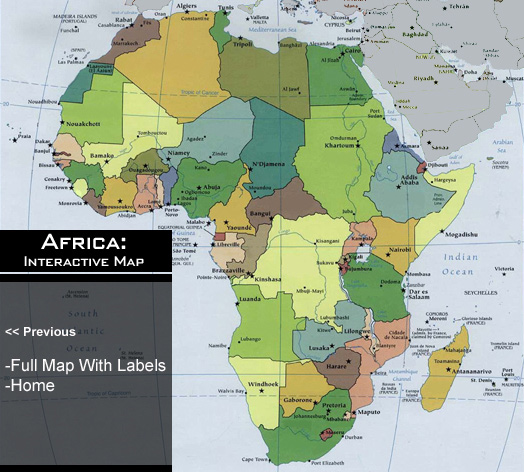 Map Of Africa Political.Interactive Political Map Africa